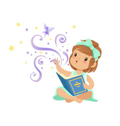 excited toddler girl sitting with open magic book vector image vector image