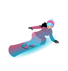 female character is standing on a snowboard vector image vector image