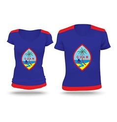 Flag shirt design of guam vector