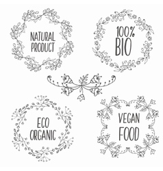 Floral decorative frames set herbs and vector