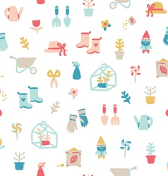 Garden stuff cartoon seamless pattern vector image vector image