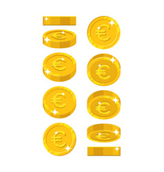 gold euro views cartoon style isolated vector image