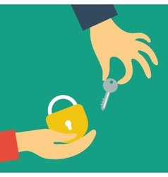 Hand holds the key in the other hand lock vector image vector image