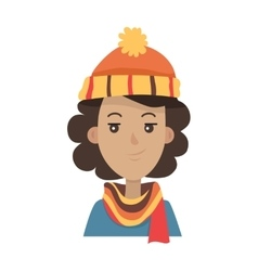 Hat brunette in orange knitted headwear and scarf vector
