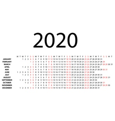 horizontal calendar for 2020 vector image vector image