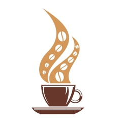 Hot cup of coffee with coffee bean steam vector