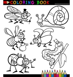 Insects and bugs for Coloring Book vector image