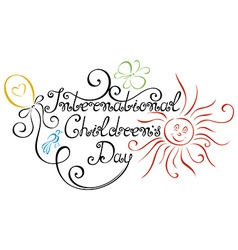 International childrens day inscription vector
