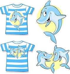 Kid shirt with cute dolphin vector