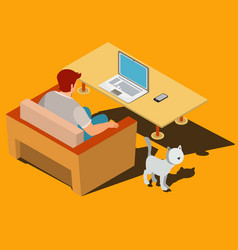 man is sitting on the armchair and looking at vector image vector image