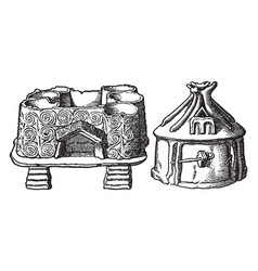 Neolithic age hut urns are first drawing probably vector