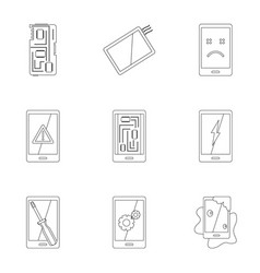 phone diagnostics icon set outline style vector image vector image