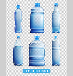 Plastic bottles transparent icon set vector