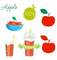 Red apple fruit and juice set vector