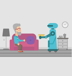 Robot assistant bringing food to an elderly man vector