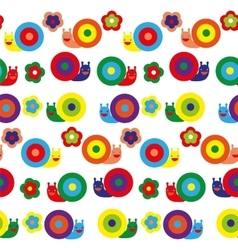 Seamless pattern with pretty snails on different vector