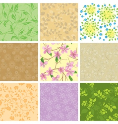 set of floral color seamless pattern with flowers vector image vector image