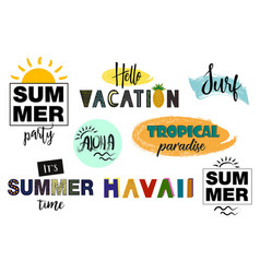 Set of summer letterings vector