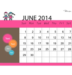 Simple 2014 calendar June vector image vector image