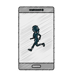 smartphone device with woman running isolated icon vector image vector image