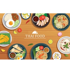 Thai food on a wooden background vector
