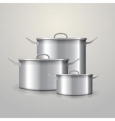 three aluminum saucepans vector image