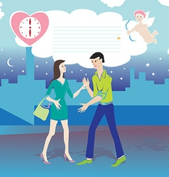 valentine date cartoon vector image vector image