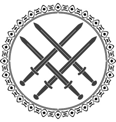 viking symbol with swords vector image vector image