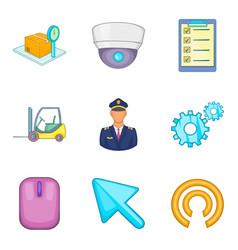 winged machine icons set cartoon style vector image