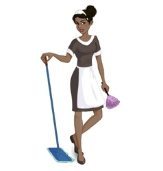 Cartoon african american chambermaid vector