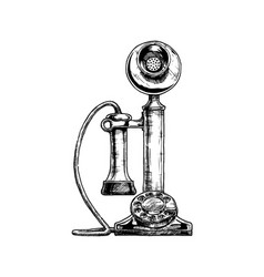 Vintage candlestick telephone vector