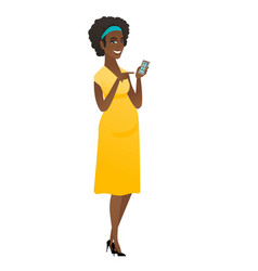 African pregnant woman holding a mobile phone vector