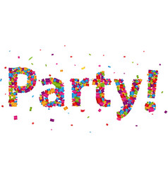 Party sign with colorful confetti vector