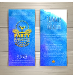 Set of watercolor summer banners with cocktail vector