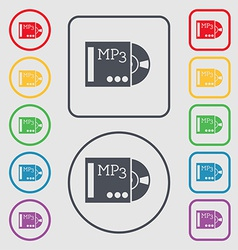 Mp3 player icon sign symbol on the round and vector