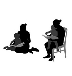 Mother reading book to child vector