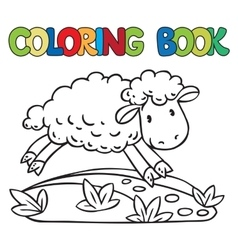 Coloring book of little funny sheep vector
