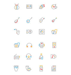 Music colored outline icons 3 vector