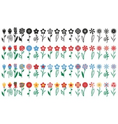 Flowers on stalks icons vector