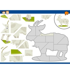 Cartoon goat jigsaw puzzle task vector