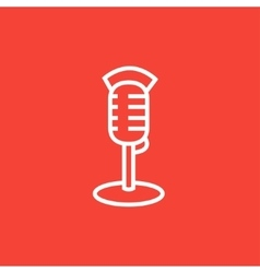 Retro microphone line icon vector