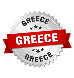 Greece round silver badge with red ribbon vector