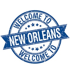 Welcome to new orleans blue round ribbon stamp vector