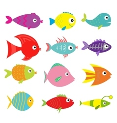Cute cartoon fish set isolated baby kids vector