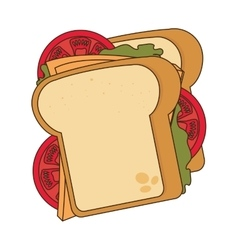 Delicious sandwich isolated flat icon vector