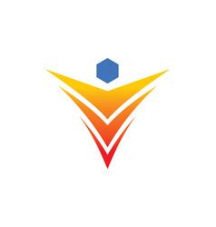 Abstract happy man letter v logo vector