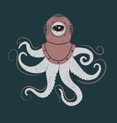 Abstract octopus in helmet vector