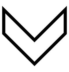 Arrowhead down contour icon vector