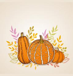autumn background with orange pumpkins vector image vector image