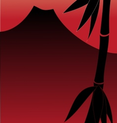 Bamboo and red sunset with mountain vector image